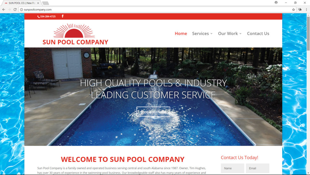 Online Marketing and Website Design for Sun Pool Company, Millbrook Alabama